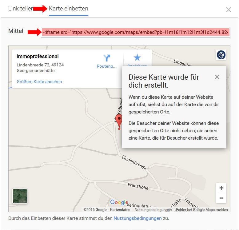 Google-Maps Karte mit dem Texteditor einbetten on